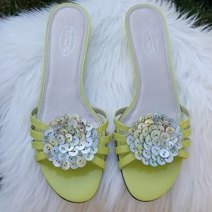 Talbots Neon Green Patent Leather Sandals